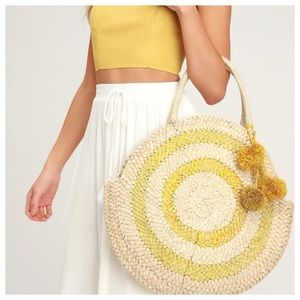 Lulu's Beige & Yellow Round Woven Tote/Purse. NEW